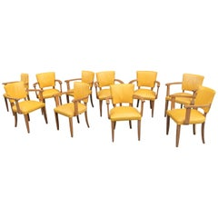 Set of Ten Art Deco Armchairs in Oak and Leather, circa 1940