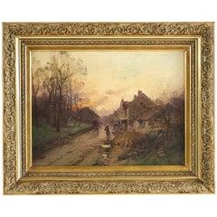 Eugène Galien-Laloue Sunset on a Village, Barbizon School, Circa 1880