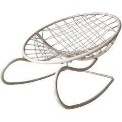Ikea White Rocking Chair, Lounge Chair, Model Axvall by Niels Gammelgaard, 2002