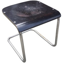 Mart Stam, H22 Stool, Chrome Metal Base, Lacquered Wood Seat