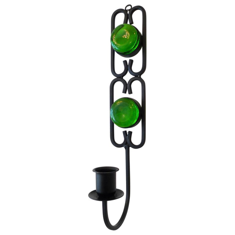 Green Glass Wall-Mounted Candlestick by Erik Höglund for Boda, Sweden, 1960s