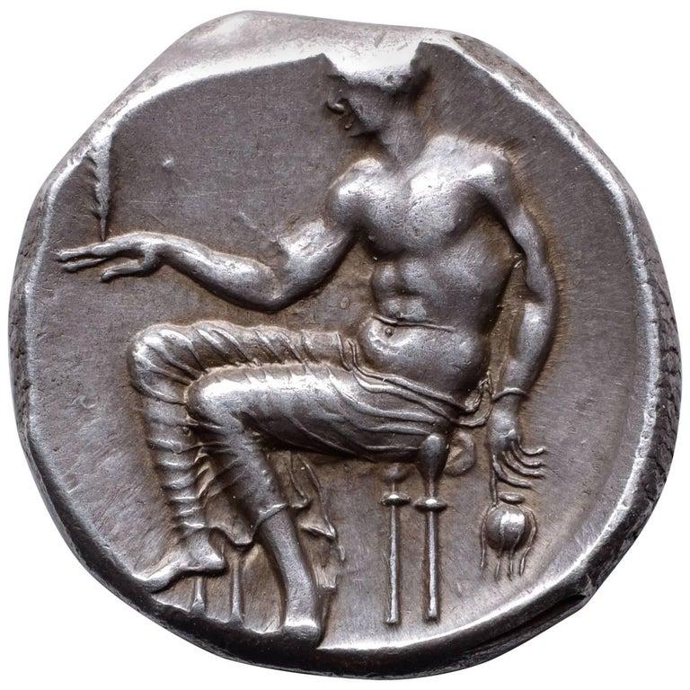 Superb Ancient Classical Greek Silver Didrachm Coin from Taras, 425 BC