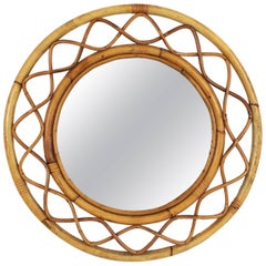 1960s Jean Royère Style French Riviera Bamboo and Rattan Round Mirror