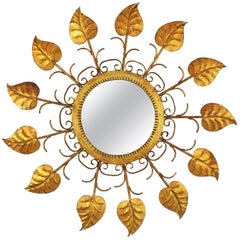 Spanish Mid-Century Modern Gilt Iron Sunburst Mirror with Scrolls & Leafed Frame