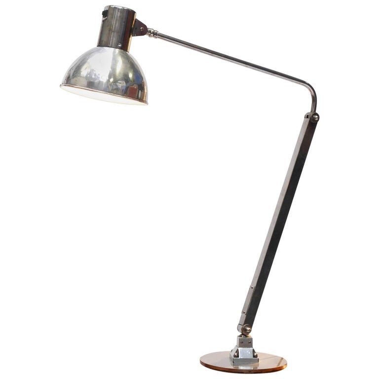 'Long Arm' Lamp, Polished Iron and Aluminium, circa 1950