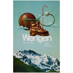 Original Vintage Summer and Winter Sport Travel Poster for Wengen in Switzerland