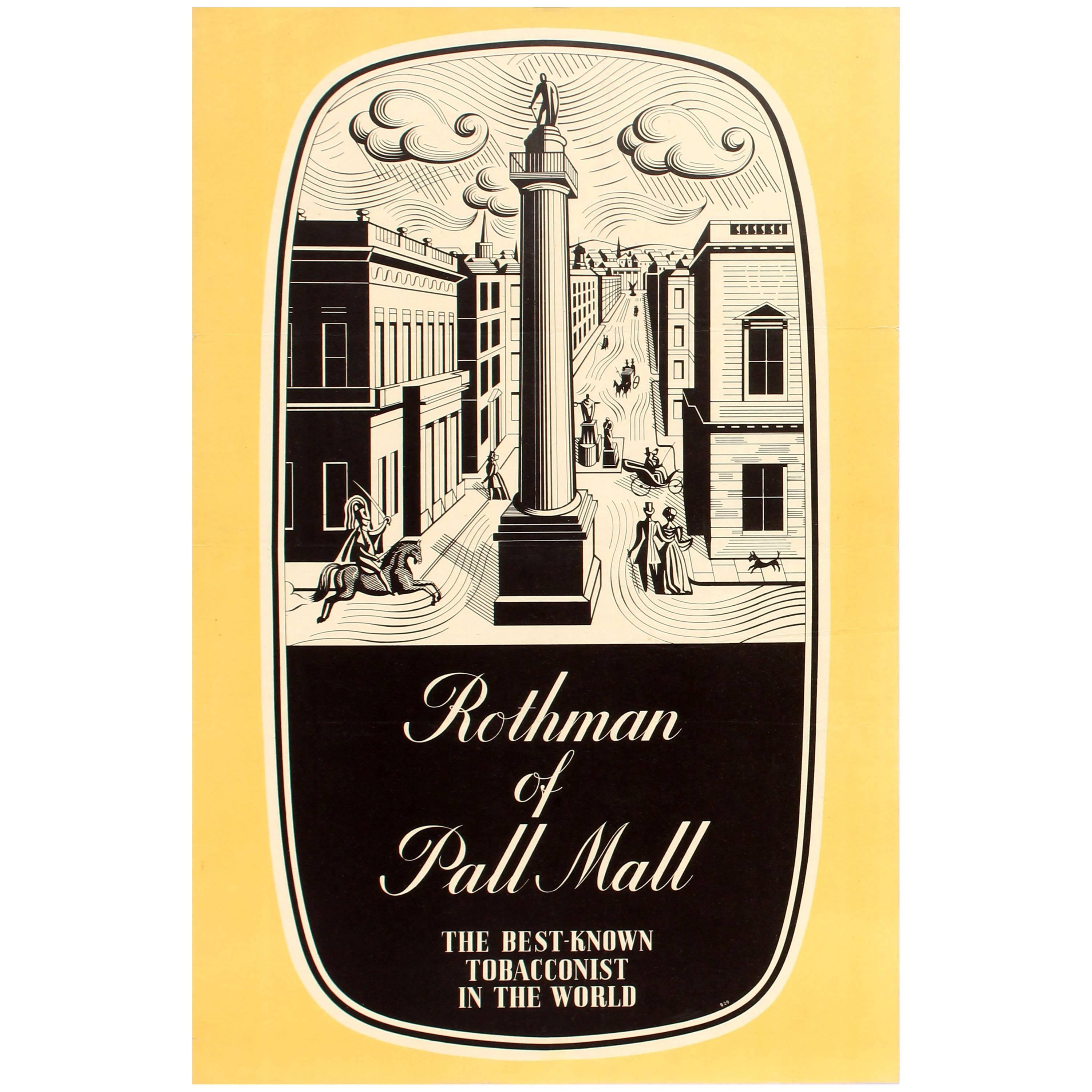 Original Vintage Rothmans Poster Advertising Rothman Of Pall Mall  Tobacconist For Sale