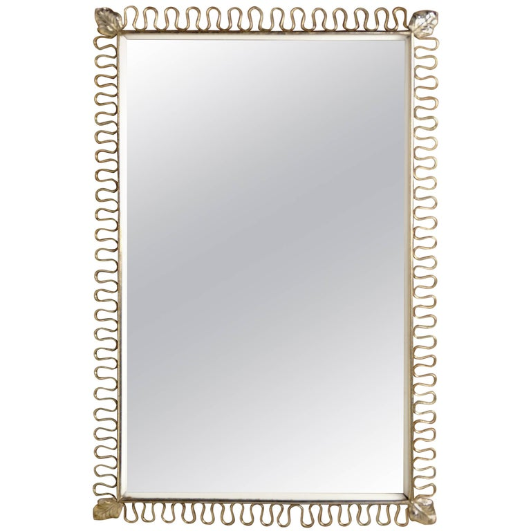 Rectangular Brass Metal Mirror by Josef Frank for Svenskt Tenn, 1950s