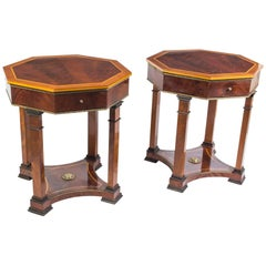 Pair of Empire Style Flame Mahogany Occasional Tables
