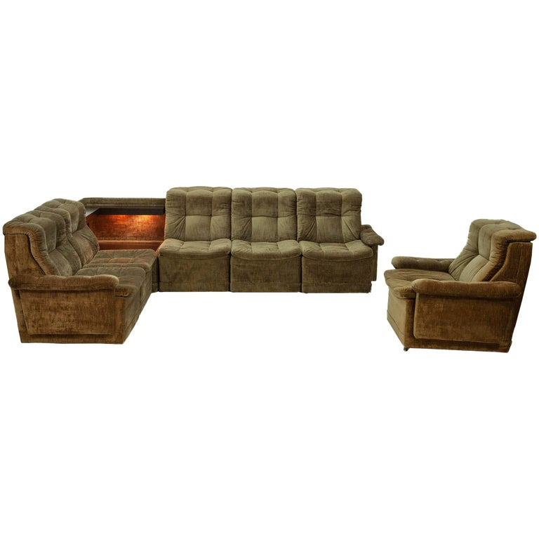 Green Velvet Sectional Sofa with Matching Lounge Chair, 1960s