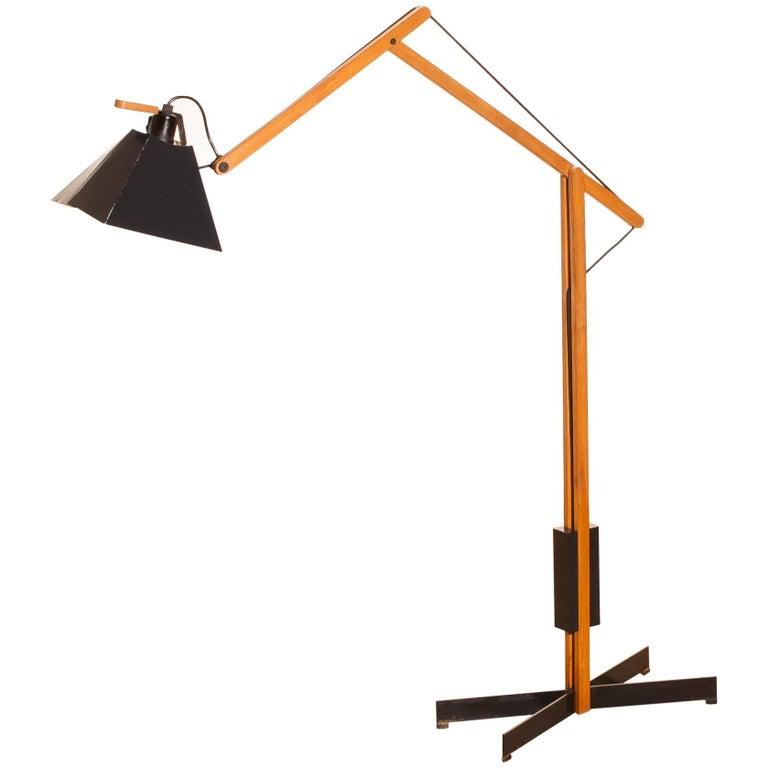 1950s, Very Rare Teak and Metal Floor Lamp by Luxus