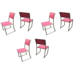 Guy Lefevre for Maison Jansen Set of Six Chairs in Steel
