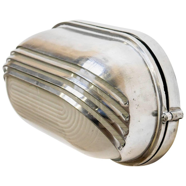 Openworked Wall Light Large, in Polished Aluminium and Reeded Glass, circa 1970