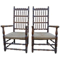Pair of Spindle Back Armchairs