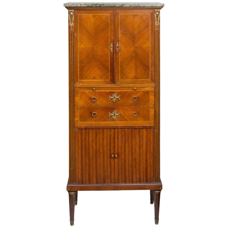 19th Century French Standing Secretaire with Tambour Doors