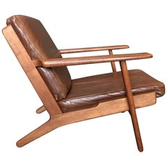 Hans Wegner GE290 Lounge Chair, Original, 1950s Refurbished