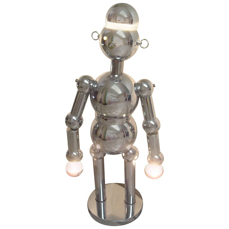 Torino Large Robot Chrome Lamp, Sculpture For Sale