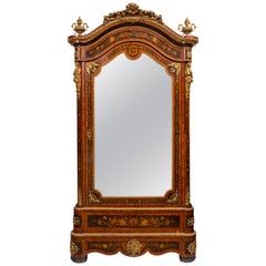 19th Century Louis XVI Style Mirror Front Armoire or Wardrobe with Marquetry
