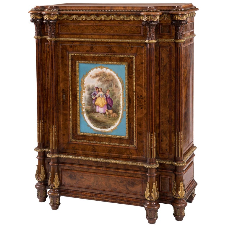 19th Century English Walnut and Ormolu Cabinet with Sèvres Porcelain Plaque