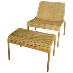 Rattan Lounge Set with Armchair and Ottoman