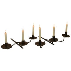 Pair of French, 18th Century Hand-Forged Iron Wall Candleholders