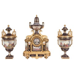 19th Century French Louis XVI Clock Garniture with Sévres Porcelain and Ormolu