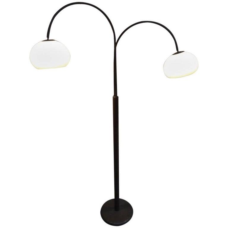 1970s Retro Vintage Freestanding Dijkstra Mushroom Shaped Two Lights Floor Lamp For Sale