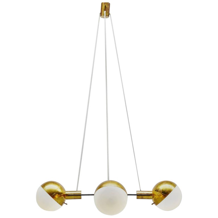 Stilnovo Chandelier Brass and Glass, Italy, 1960 For Sale