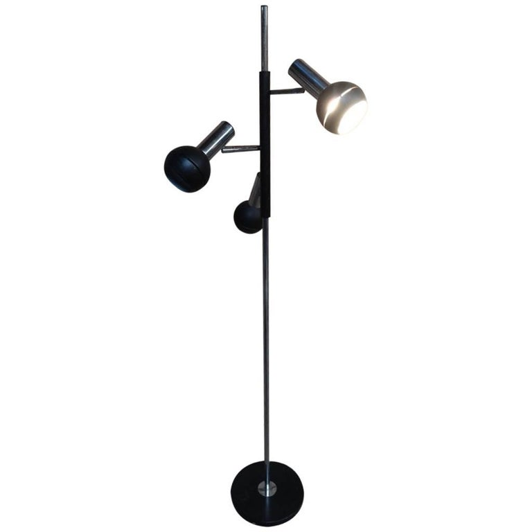 1970s Retro Vintage Freestanding Dijkstra Black Chrome Reading Floor Lamp