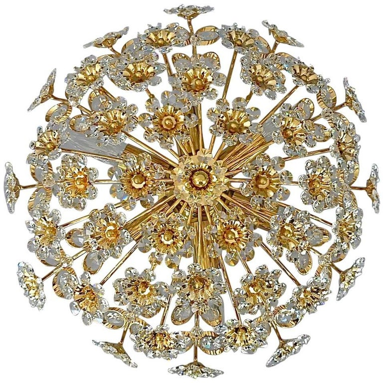 Palwa Gilt Brass Crystal Glass Flush Mount Chandelier Floral Flower Bouquet 1960