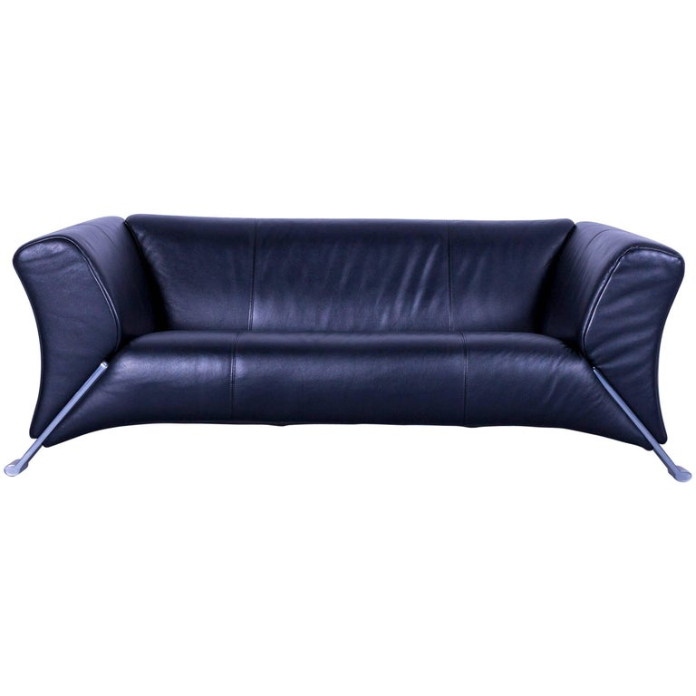 Rolf Benz 322 Designer Sofa Black Two-Seat Leather Modern Couch ...