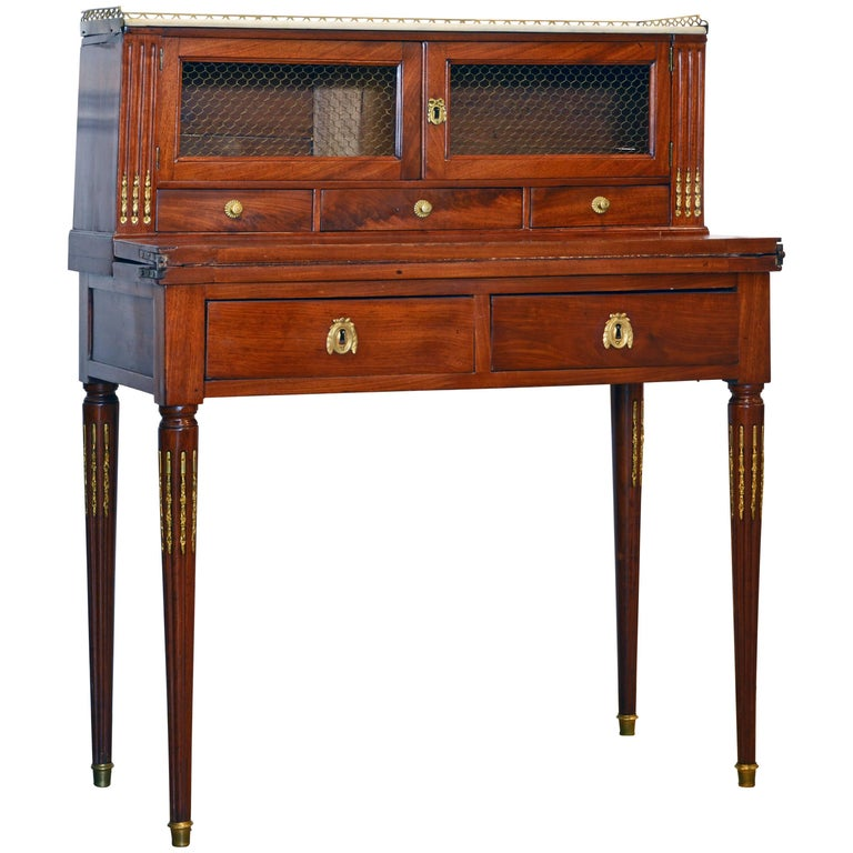 Lovely Late 19th Century French Louis XVI Style Bonheur du Jour or Writing Desk