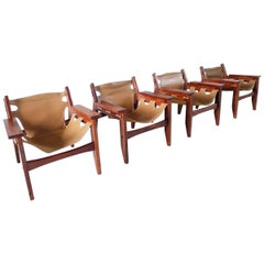 Exceptional Set of Four Kilin Chairs by Sergio Rodrigues for Oca, Brazil, 1973