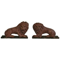 Pair of Late 18th Century Carved Wooden Lions