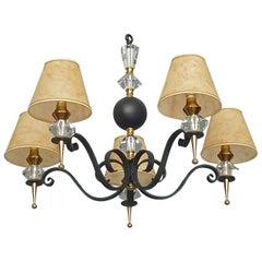 Black Iron Gilt Brass Sevres Crystal Glass Chandelier Fontana Arte Jansen Style