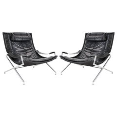 Dutch Modernist Set Lounge Chairs in Black Leather by Gerard Van Den Berg, 1980s