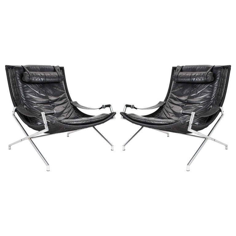 Dutch Modernist Set Lounge Chairs in Leather by Gerard Van Den Berg, 1980s