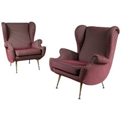 Zanuso Style Pair of Lounge Chairs, Italy, 1950s