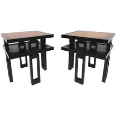 Signed James Mont Asian Style Two-Tone End Tables, circa 1940s