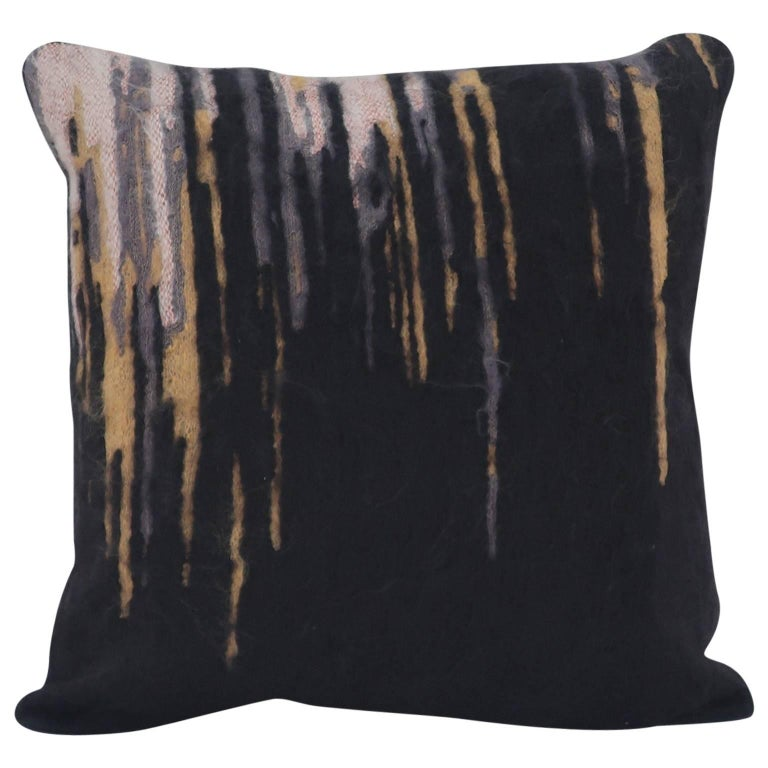 Handcrafted Embroidered Pillow Black White Gold and Grey Mohair Copper Metallic For Sale