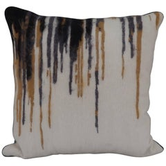Handcrafted Embroidered Pillow  White Black Gold and Grey Metallic Highlights