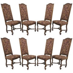 Set of Eight French Louis XIV Style Carved High Back Dining Chairs