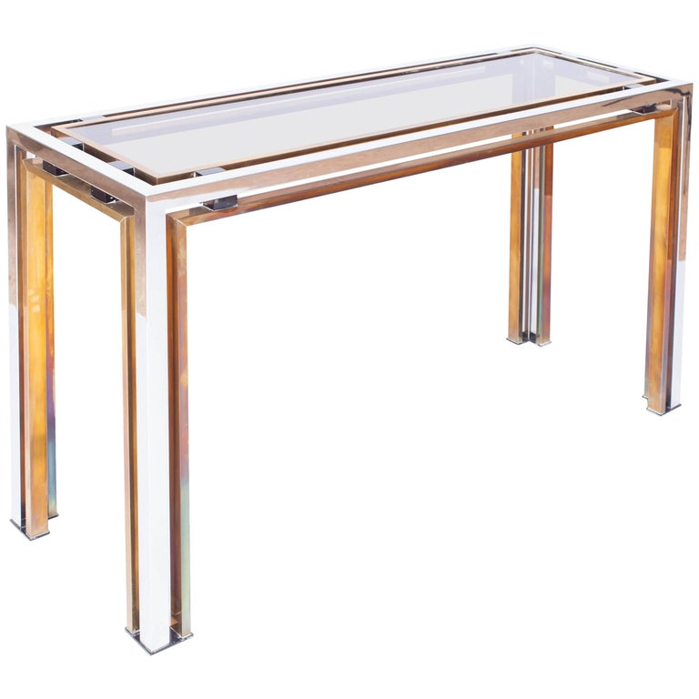 Romeo Rega Console Table in Brass and Chrome For Sale