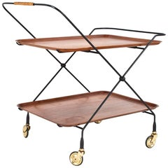 Scandinavian Modern Serving Trolley / Side Table Teak and Metal, 1960s