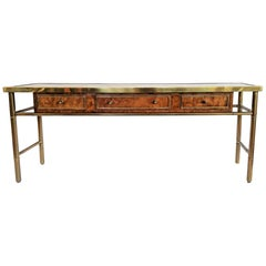 Mastercraft Amboyna Burl Wood and Brass Console Table with Etched Top, 1970s