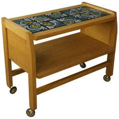 French Design by Guillerme et Chambron Oak and Ceramic Trolley