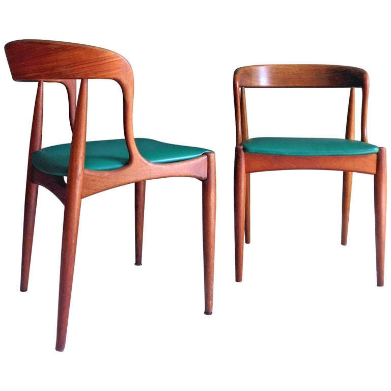 Uldum Denmark Model 16 by Johannes Andersen Dining Teak Chairs ,Set of 2, 1960s For Sale