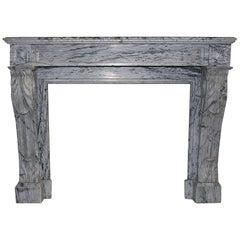 19th Century, French, Louis XVI Bleu Fleuri Marble Fireplace