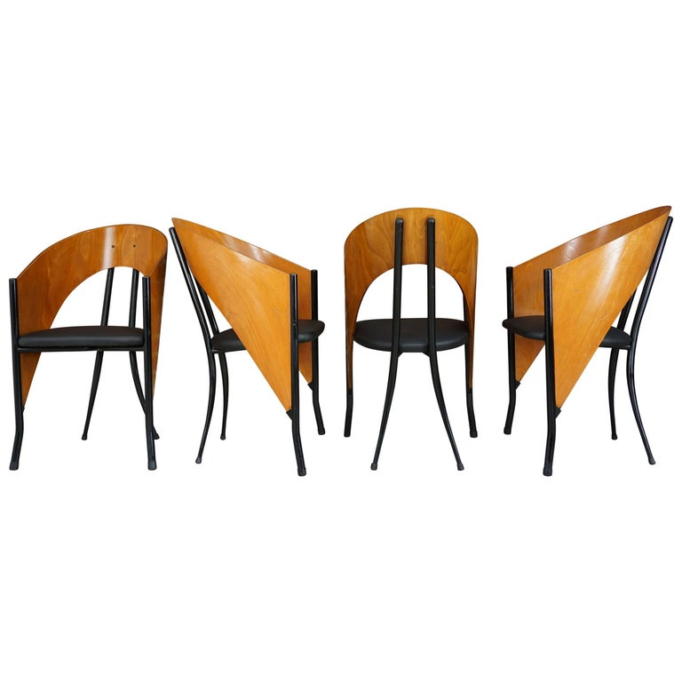 Set of Four Wooden and Metal Italian Design Dining Armchairs