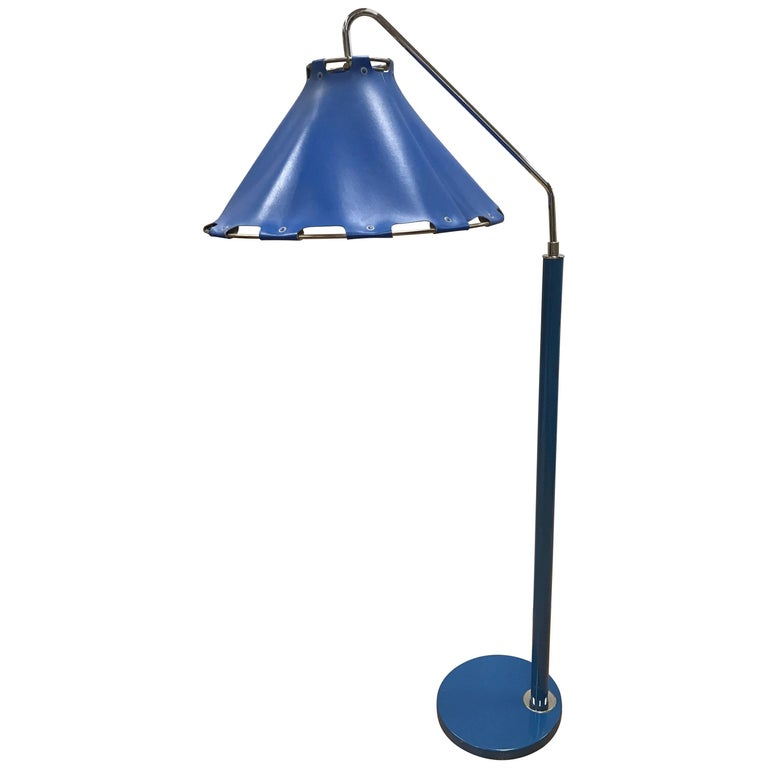 Midcentury Floor Lamp Royal Blue Leather Gerald Thurston Lightolier